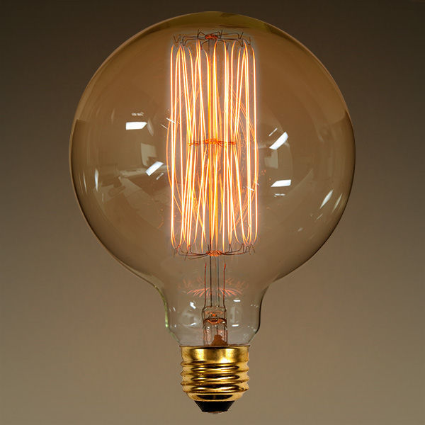 40 Watt - G40 Vintage Antique Light Bulb - Globe Style - 5 in. Diameter - Squirrel Cage Filament - Multiple Supports - Clear