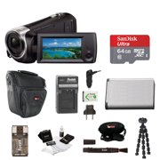 Sony HDR-CX405 Handycam Camcorder (Black) + 64GB microSD Card + Carry Case + Accessory Bundle