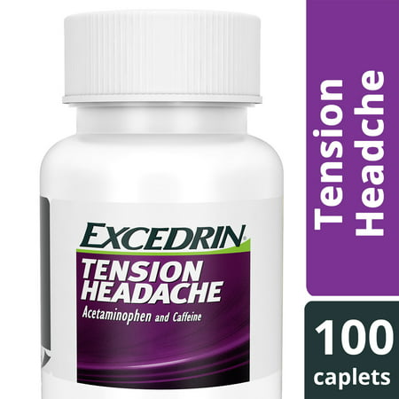 Excedrin Tension Headache Aspirin-Free Caplets for Head, Neck, and Shoulder Pain Relief, 100