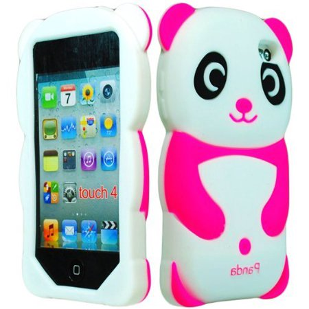 Prada Ipod (iPod Touch 4 Case, Bastex 3D Silicone Hot Pink & White Panda Bear Case for Apple iPod Touch 4 )