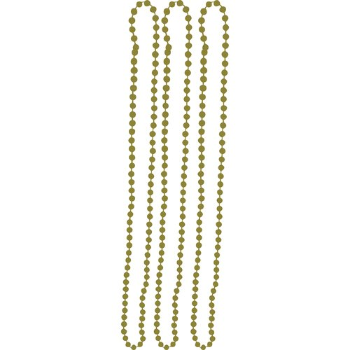"""Way to Celebrate 33"""" Solid Color Bead Necklaces, Gold, 3-Pack"""