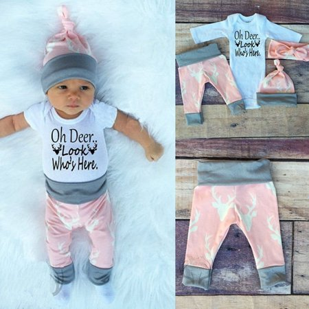4pcs Toddler Infant Baby Boy Girl Romper Bodysuit+Long Pants Deer Pattern Outfits Clothes Set 0-18M