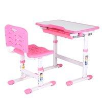 WALFRONT Adjustable Kids Study Homework Desk Chair Children Activity Art Table Set , Kids Homework Desk, Children Table Set