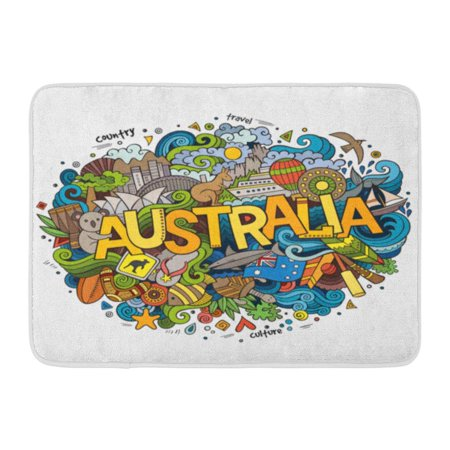 KDAGR Sydney Australia Country Hand Lettering and Doodles Symbols Sketchy Australian Doormat Floor Rug Bath Mat 23.6x15.7 inch