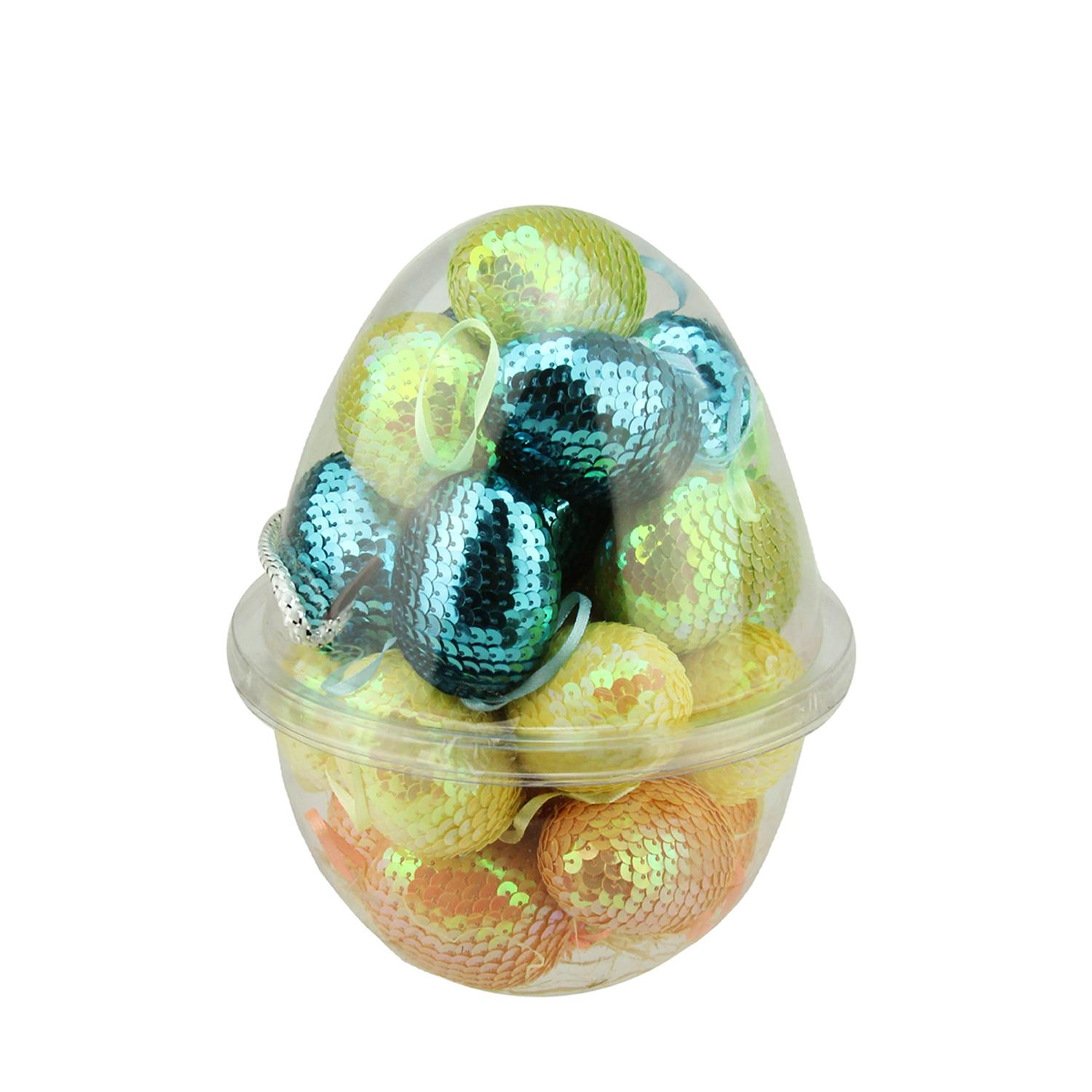 """Set of 25 Blue Yellow Green and Orange Sequined Spring Easter Egg Ornaments 2.25"""""""