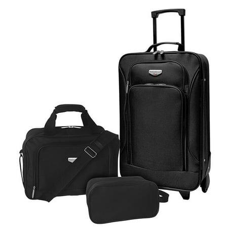 Travelers Club EVA-12203-001 Euro Value II 3 Piece Softside Luggage Set, Black ()
