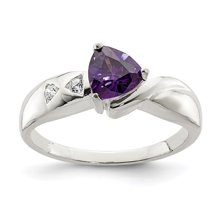 925 Sterling Silver Purple Trillion Cubic Zirconia Cz Band Ring Size 8.00 Fine Jewelry Gifts For Women For Her - image 6 de 6