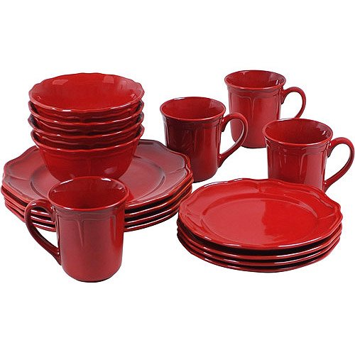 Better Homes And Gardens Simply Fluted 16 Piece Dinnerware Set Red Garnet