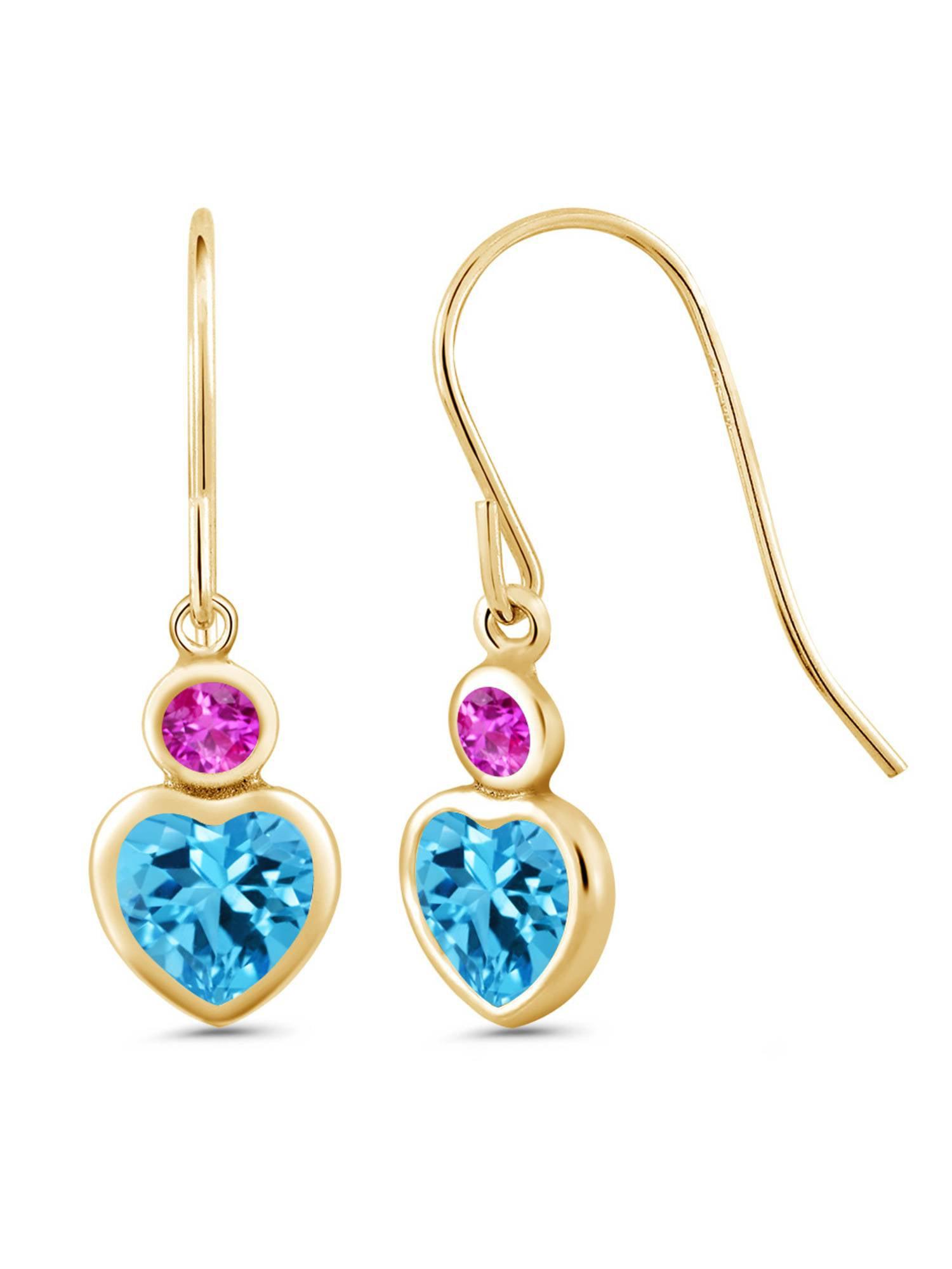 1.38 Ct Heart Shape Swiss Blue Topaz Pink Sapphire 14K Yellow Gold Earrings by