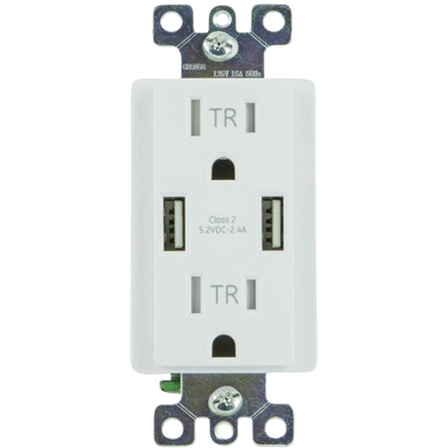 GE Ultra Pro 2 USB + 2 AC In-Wall Receptacle, 4.0A, White, 36064