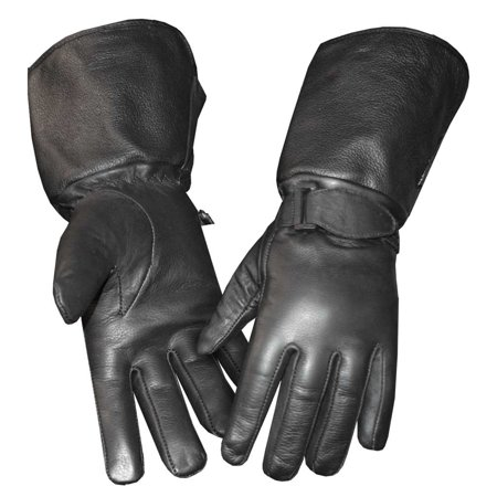 Redline Womens Gauntlet Fleece Gator Lining Leather Gloves  Black Gl 053Gs