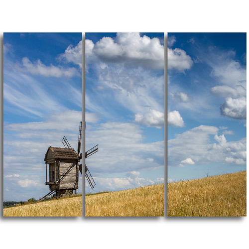 Design Art Cloudy Sky and Windmill Summer day - 3 Piece Graphic Art on Wrapped Canvas Set