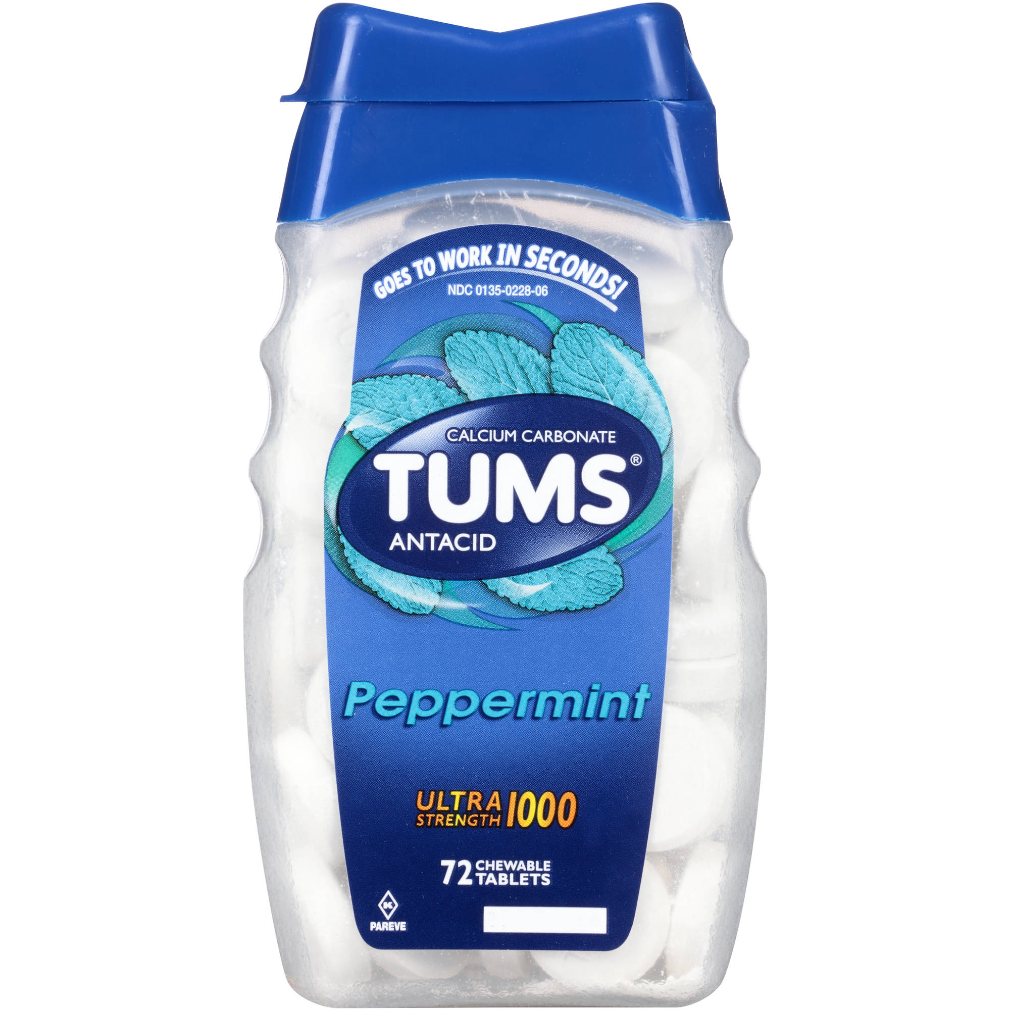 TUMS Antacid Ultra Strength 1000 Peppermint Chewable Tablets, 72 count