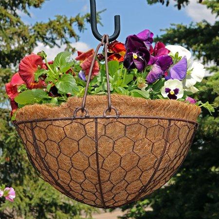 Sunnydaze Eggshell Hanging Flower Basket Planter with Coco Liner, Indoor/Outdoor Decorative Plant Holder, 14 Inch Diameter