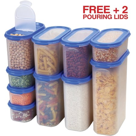 Food Storage Containers Set -STACKO- 20 PC. SET - Airtight Dry Food  Container with Lids, BONUS 2 POURING LIDS - Durable Clear Frosted Plastic  BPA Free ...