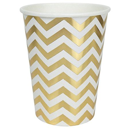 Just Artifacts Chevron Striped Party Paper Cups (24pc, Metallic Gold) - Paper Decorations for Birthday Parties, Weddings, Baby Showers, and Life - Gold Party Cups