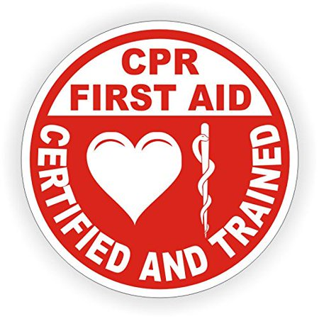 (CPR First Aid Certified and Trained Helmet Sticker, Hardhat Sticker 2 Inch Round Stickers Pack of 10)