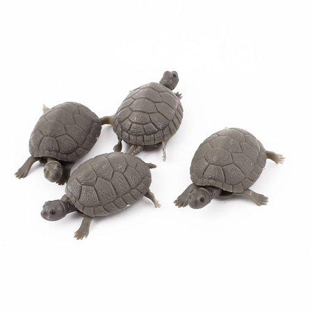 Aquarium Fish Tank Plastic Floating Artificial Tortoise Decor Ornament Gray 4Pcs