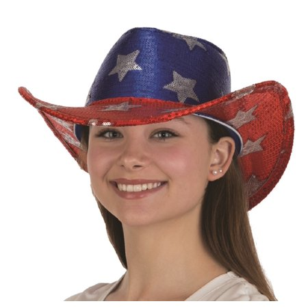 USA American Flag Cowboy Hat Sequin Red White Blue Patriotic 4th of July - Patriotic Hat