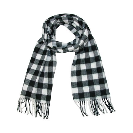 Size one size Softer Than Cashmere Buffalo Plaid Winter Scarf, Black