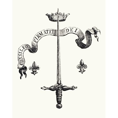 Coat Of Arms Of The Family Of Joan Of Arc Alias Du Lye The Blade Of A Silver Sword The Point Supporting A Golden Crown And Flanked With Two Fleurs-De-Lis With The Motto Consilio Firmatei Dei This Coat Coat Of Arms Swords