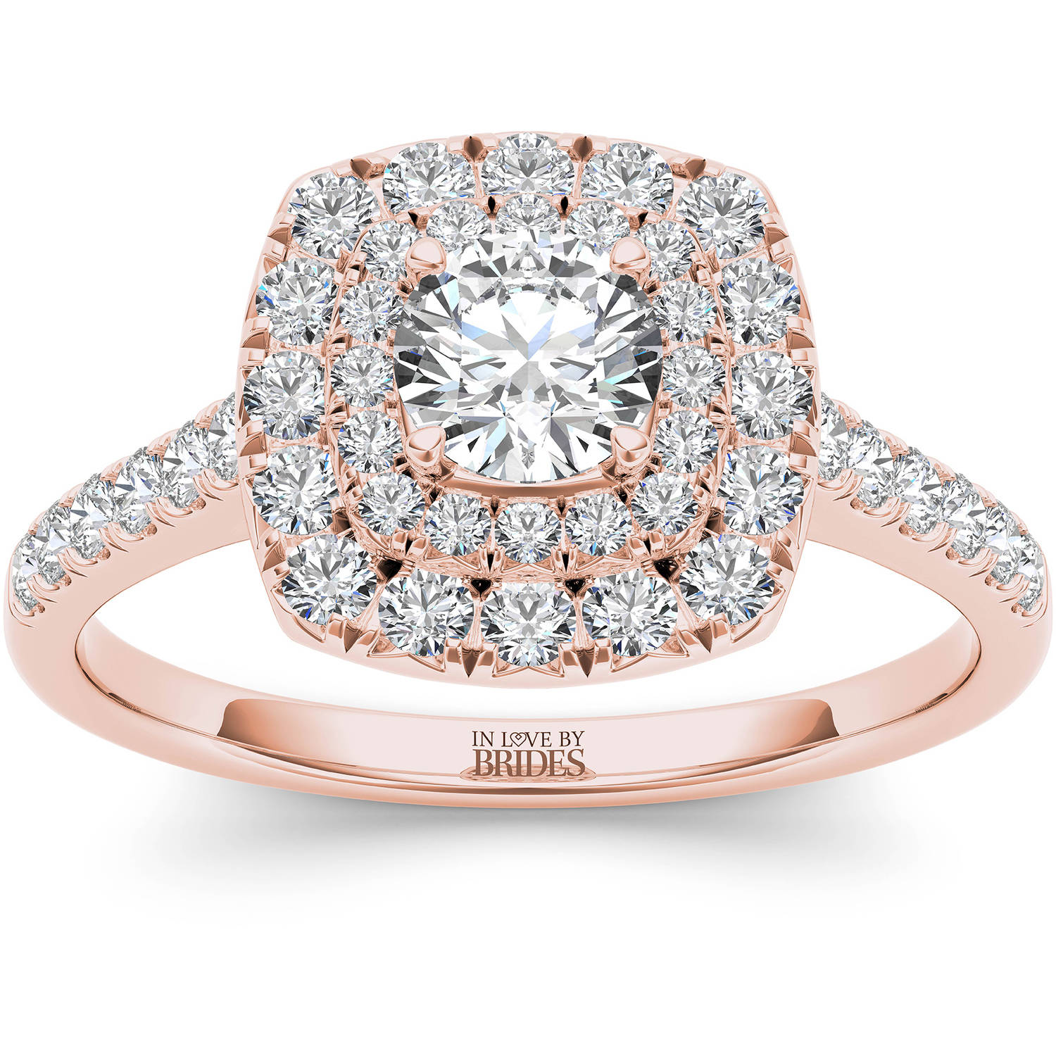 IN LOVE BY BRIDES 1.00 Carat T.W. Certified Diamond Cushion Double Halo 14kt Pink Gold Engagement Ring