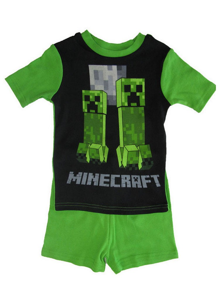Minecraft Boys Green Short Sleeve 2 Pc Pajama Set