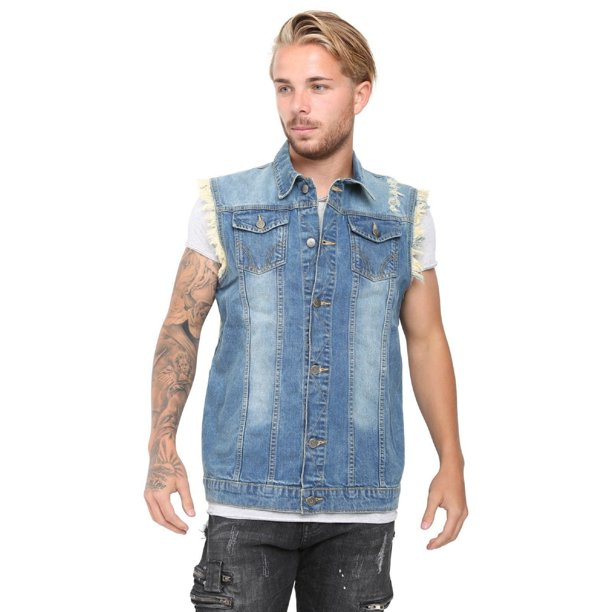 Men's Denim Vest Ripped Jean Coat Causal Jacket Collar Sleeveless Shirt Biker Mid Blue Medium