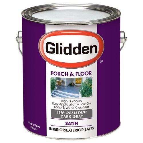 Glidden Porch & Floor Paint, Grab-N-Go, Eggshell Finish, Slip Resistant, Dark Grey, 1 Gallon