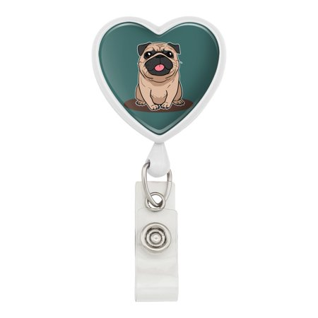 Pug Sticking Out Tongue Heart Lanyard Retractable Reel Badge ID Card Holder - White