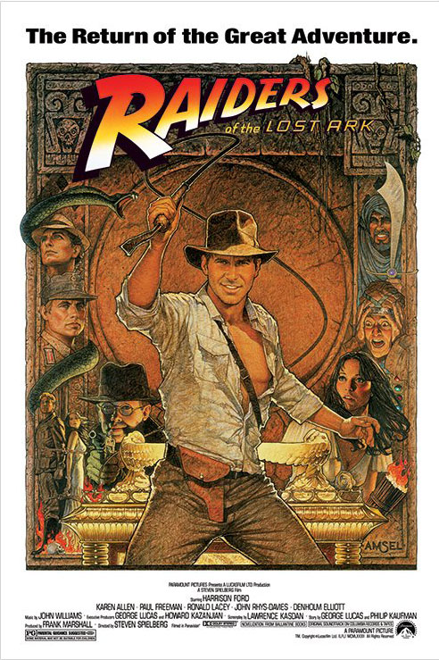 """Indiana Jones Raiders Of The Lost Ark Movie Poster   Print (1982 Re-Release Whip) (Size: 24"""" x 36"""") by"""