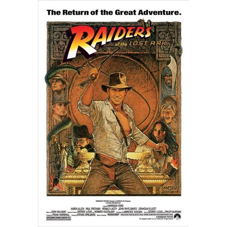 "Indiana Jones - Raiders Of The Lost Ark - Movie Poster / Print (1982 Re-Release - Whip) (Size: 24"" x 36"")"