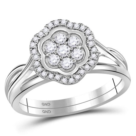 10kt White Gold Womens Round Diamond Flower Cluster Bridal Wedding Engagement Ring Band Set 1/3 Cttw
