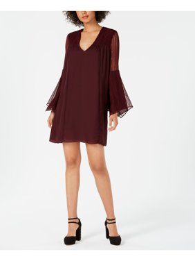AVEC LES FILLES Womens Burgundy Lace Sleeve Bell Sleeve V Neck Mini Shift Party Dress  Size 2