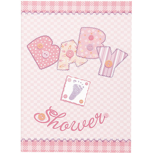 Pink Stitching Baby Shower Invitations, 8pk
