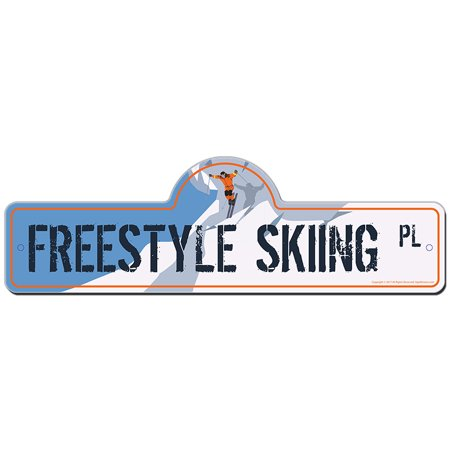 Freestyle Skiing Street Sign | Indoor/Outdoor | Funny Home Decor for Garages, Living Rooms, Bedroom, Offices | SignMission personalized gift