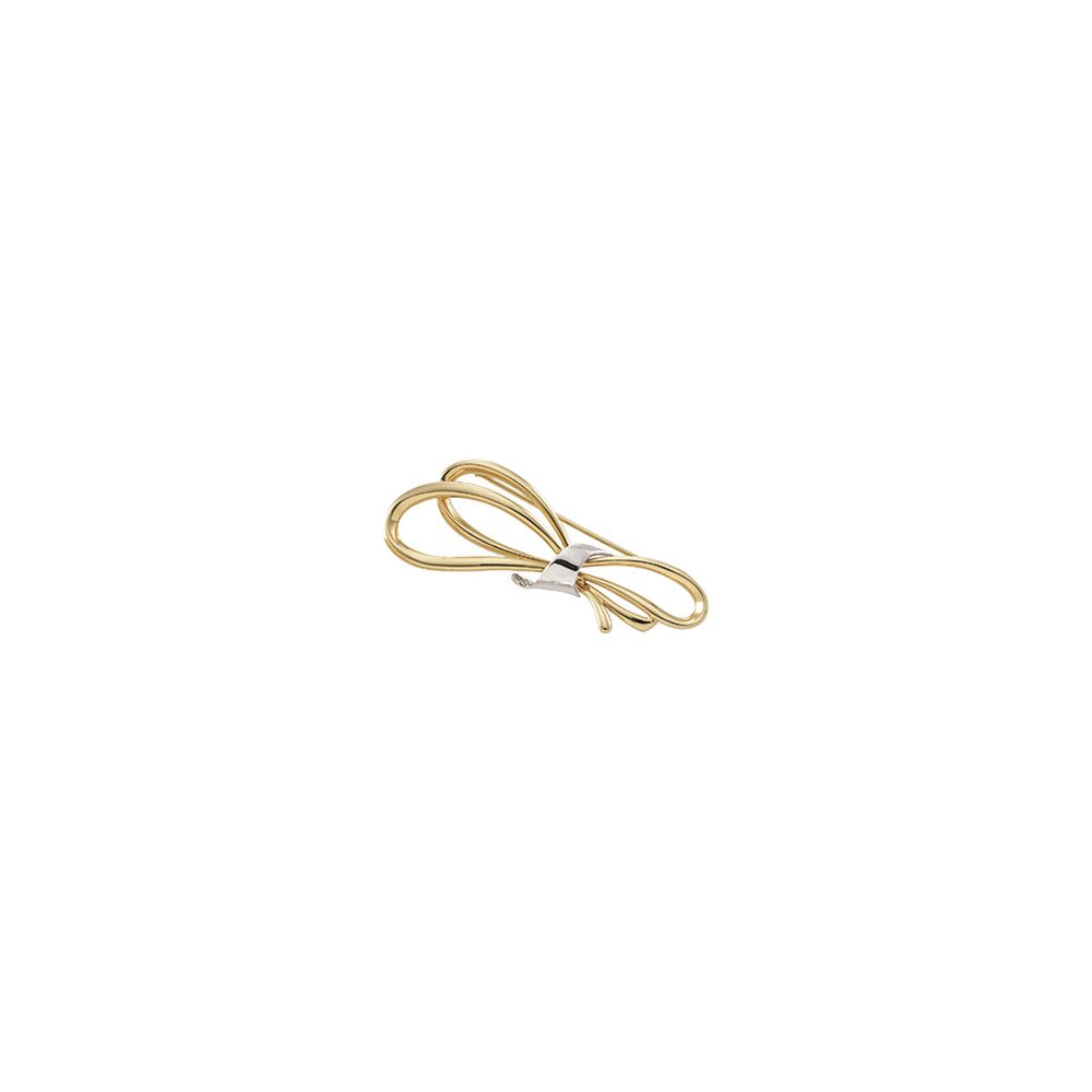 14k Two-Tone Gold (White Yellow) 59x23mm Bow Design Brooch by