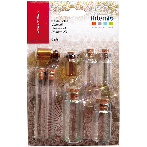"Artemio 1.18""-3.35"" Flasks Oldies 8pk, Multicolor"
