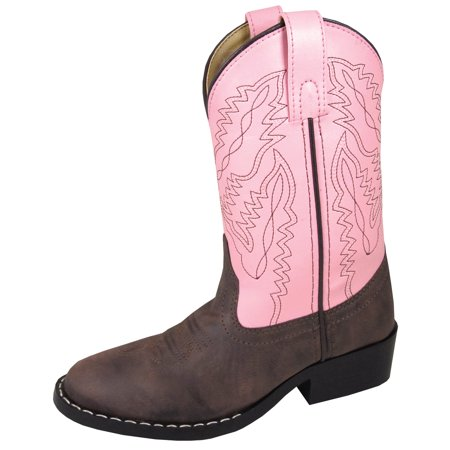 Smoky Mountain Youth Girls Monterey Boots Brown/Pink, - Girl Cowgirl Boots
