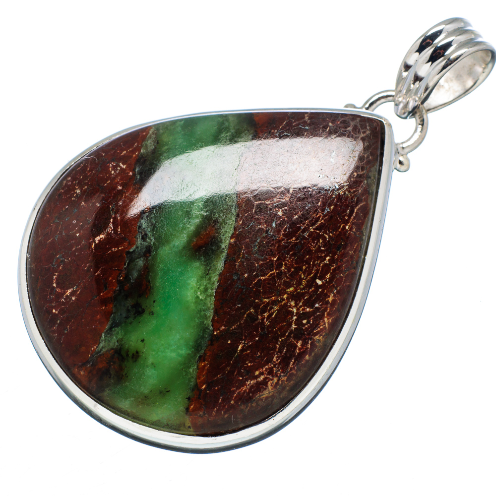 "Ana Silver Co Boulder Chrysoprase 925 Sterling Silver Pendant 2"" PD594538 by Ana Silver Co."