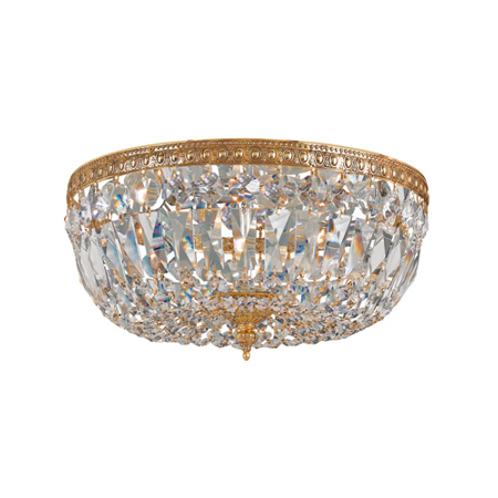 - Flush Mounts 3 Light With Olde Brass Clear Swarovski Strass Crystal 14 inch 180 Watts - World of Lighting
