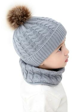 2Pcs Kids Baby Girl Boy Winter Knit Bobble Warm Hat Neck Warmer Infant Cap
