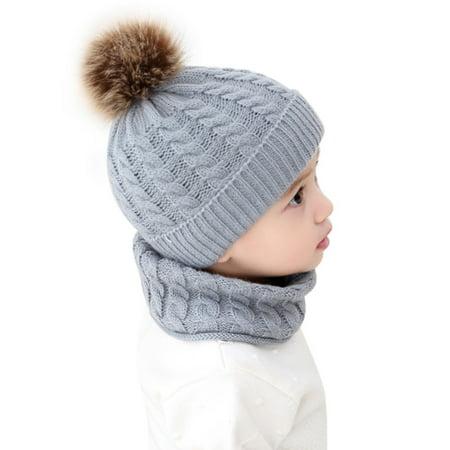 2Pcs Kids Baby Girl Boy Winter Knit Bobble Warm Hat Neck Warmer Infant Cap (Infant Winter Hat Unisex)