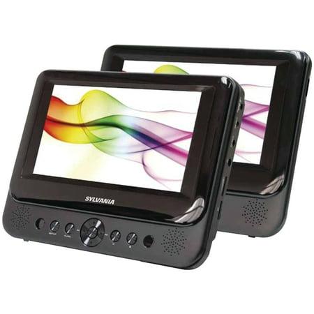 """Sylvania 7"""" Dual-screen Portable Dvd Player (Sdvd8739)"""