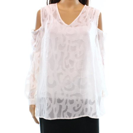 Life Size Cut Out (ALFANI Womens White Cut Out Shoulders Long Sleeve V Neck Hi-Lo Top  Size:)