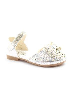 abd22c5f698 Product Image Little Girls Silver Glitter Bow Rhinestone Strap Dress Shoes