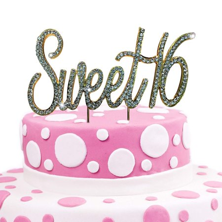 JennyGems Sweet 16 Cake Topper - Crystal Rhinestones - 16th Birthday Party Decoration