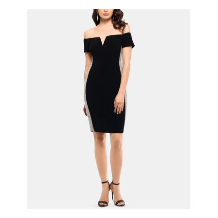 XSCAPE Womens Black Short Sleeve Off Shoulder Above The Knee Body Con Cocktail Dress Petites  Size: 6P