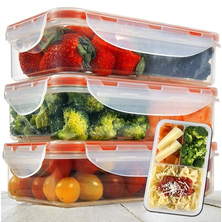 Elite Portion Control - Bento Lunch Box 3pcs set 24oz - Meal Prep Containers Microwavable - BPA Free Leak Proof - Portion Control Containers - Food Containers Meal Prep 3 Compartments Dishwasher Friendly - Snap Locking Lid
