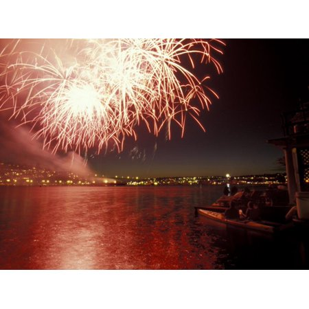 4th of July Fireworks on Lake Union, Seattle, Washington, USA Print Wall Art By William Sutton